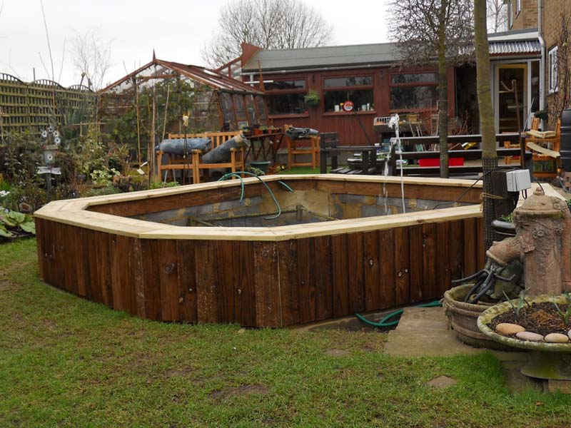 Mo got her bigger pond here 39 s how your pond forum for Wooden koi pond construction
